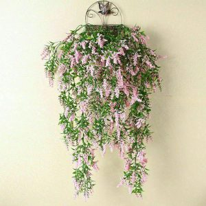 2 x Hanging Artificial Ivy Flower Garland Pink