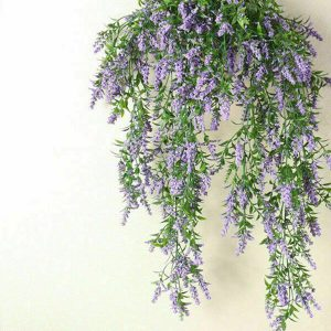 2 x Hanging Artificial Ivy Flower Garland Purple
