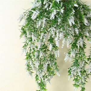2 x Hanging Artificial Ivy Flower Garland White
