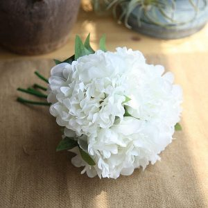 5 x Head Silk Peony Bouquet White