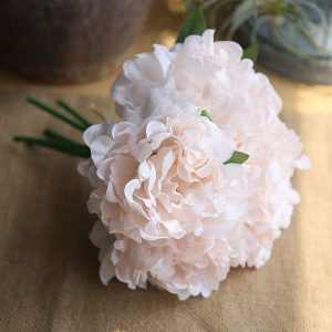 5 x Head Silk Peony Bouquet Light Pink