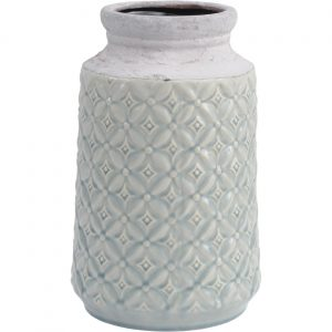 Blue Ceramic Vase with Patterned Detail