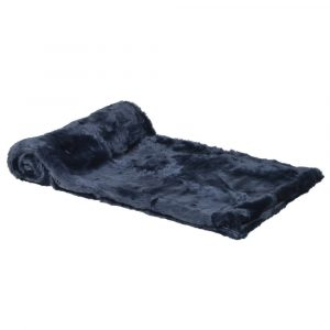 Dark Blue Faux Fur Throw