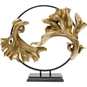 Dancing Betta Fishes Gold Decorative Ornament Large
