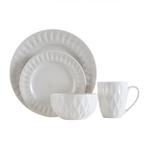 Embossed Geometric White Dinner Set