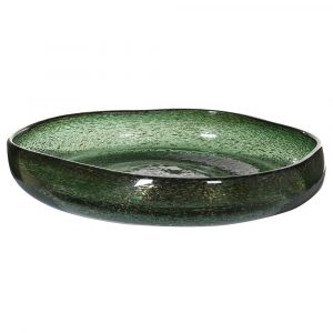 Green Misshapen Bowl with Bubbles