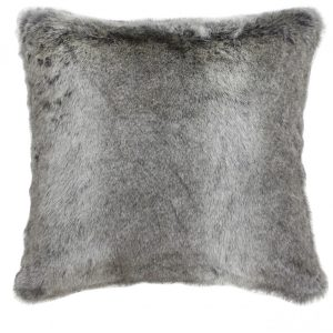 Arctic Wolf Grey Brown Faux Fur Cushion