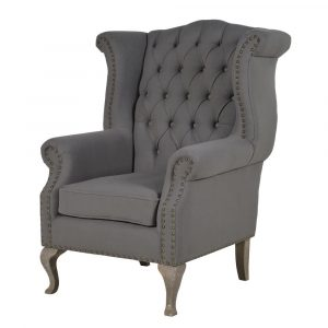 Grey Button Back Studded Armchair