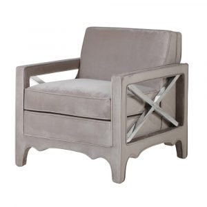 Grey Taupe X Cross Arm Chair