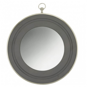 Grey Wood Round Wall Mirror