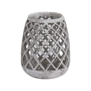 Large Conical Ceramic Lattice Hurricane Lantern