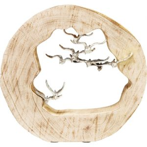 Metallic Birds In Flight In Log