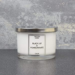 Simple Large 2 Wick Candle Black Lily and Pomegranate Scent 260g