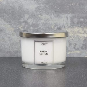 Simple Large 2 Wick Candle Fresh Cotton Scent 260g