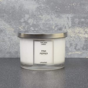 Simple Large 2 Wick Candle Pink Pepper Scent 260g