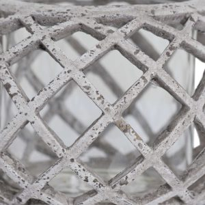 Small Round Ceramic Lattice Hurricane Lantern