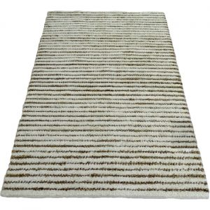 Striped Wool Rug In Ivory And Natural 180 x 120 cm