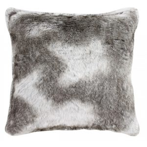 Light Brown Grey Timber Wolf Faux Fur Cushion