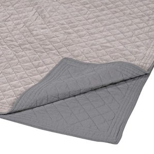 Warm Grey Cotton Velvet Superking Bedspread