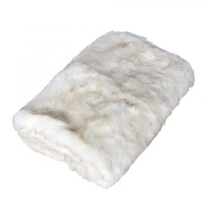 White Natural Flecked Faux Fur Throw